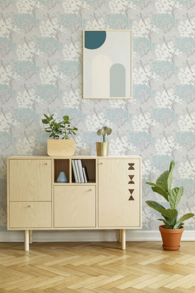 Graham and Brown Lykke Tree Sky Blue 107972 Wallpaper